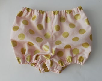 Gold polka dot on pale pink baby infant toddler decorative diaper covers