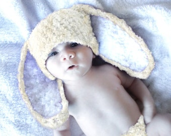 0 to 3m Bunny Ears, Newborn Baby Hat, Baby Bunny Hat, Cream White Bunny Costume Baby Shower Gift, Bunny Beanie Photograpy Prop