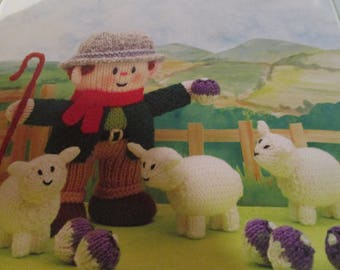 Handmade Knitted Farmer Whoolly And 3 X Sheep Part Of The Little Dumpling Dolls Village People (New, Made T0 Order) 3+