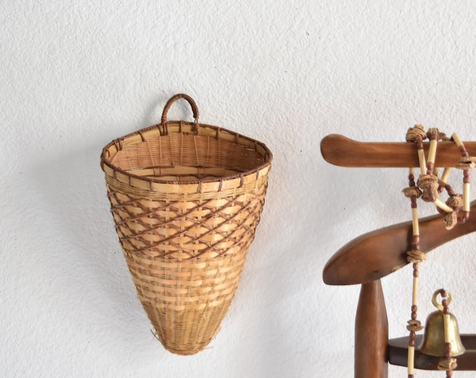 vintage woven rattan wall hanging basket with pocket planter