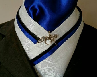 Doc's Designs Royal Blue, Black and Paisley Dressage Stock Tie