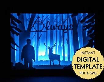 Template Harry Potter Patronus Paper Cut File, Silhouette Light Box Tutorial - PDF, SVG Digital Download