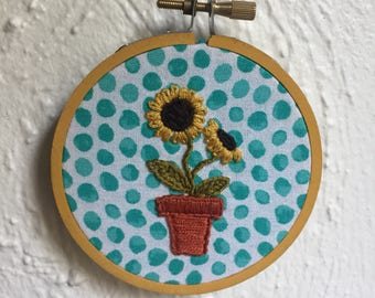 Yellow embroidery hoop sunflower
