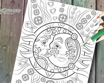 Celestial (sun and moon design) INSTANT DIGITAL DOWNLOAD -Coloring Page