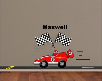 Red Race Car Wall Decal | Race Car Sticker | Race Car Driver Decal | Nursery Wall Decal Art | Checkered Flag Racing Decal - HD