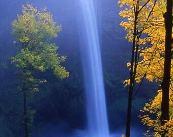 Silver Creek Falls - Waterfall - Oregon - Autumn - Nature Print - Landscape - Yellow - Blue - Fine Art Print - Wall Art - Home Decor -Renfro