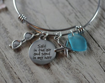 Salt in the Air and Sand in My Hair Bracelet - Adjustable Bangle Bracelet - Beach Lover