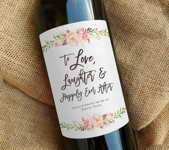 Wedding Wine Bottles: Custom Wine Bottle Label Wedding Favor Gift