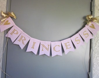 Pink Gold Princess Banner - Elegant Princess Bunting -  Pink  Gold Glittered Princess Garland Birthday Party  - Nursery Decor - Baby Shower