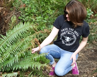 SAVE THE BEES Women's Graphic Tee, Save the Bees Tee, All Hives Matter Tee, Eco Friendly Tee, Save the Bees