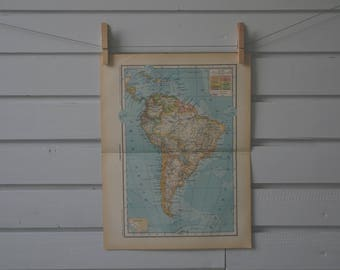 1937 Vintage South America Map