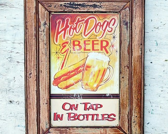 Beer and Hot Dog Sign, Man Cave Decor, Bar Sign, Restaurant Decor, Mancave Sign, Fathers Day Gift, Beer Lover Gift, Metal Beer Sign,