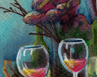 original art aceo card drawing still life flowers and wine