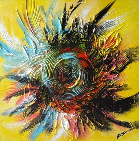 """sunflower painting, sunflower art, sunflower wall art, yellow flower painting, sunshine art, square painting, Yin Lum, 20""""x20"""" f"""