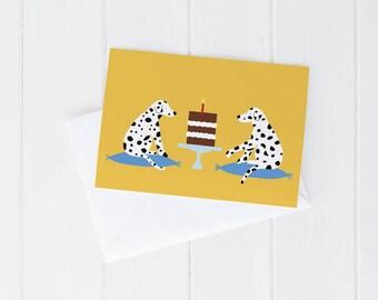Greeting card, Birthday, happy dogs, dalmatian, carob cake