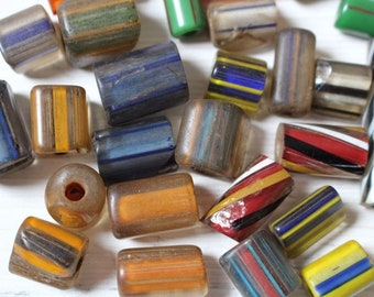 Aged cane glass beads