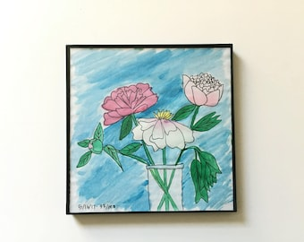 33/100: three peonies - original framed watercolor illustration