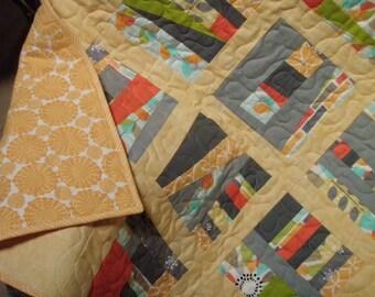 Handmade Modern Baby Quilt in Michael Miller Fabrics Quiltsy