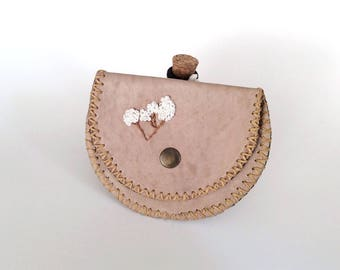 Beige  Leather Coin Bag, Change Purse with Wax Linen, Handmade Wallet
