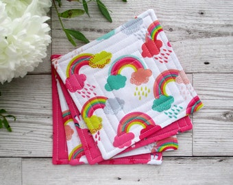 Unicorn Coasters, Rainbow Coasters, Fabric Coasters. Quilted Coasters, Drink Coasters, Gift For Her, Housewarming Gift, Rainbow Decor
