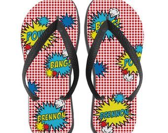 Kids Personalized Flip Flops - Superhero Gift Idea, Superhero Birthday Gift