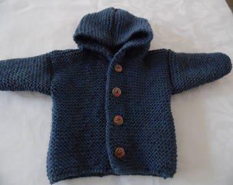 Newborn blue denim hooded coat