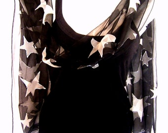 Hand Painted Silk Scarf, Stars Scarf, Black White, Chiffon Silk Scarf, Gift For Her, Made To Order