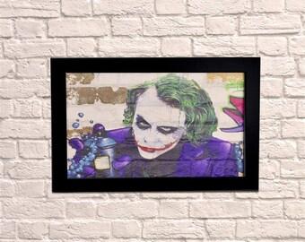 Industrial Joker Black Frame Brick Wall Graffiti Style Artwork. Graffiti Style Art. Steampunk & 3D Ceramic Brick Panels and Framed. UK MADE