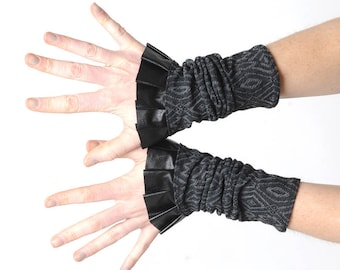 Black mesh cuffs with ruffle, black and grey cuffs,  black pleather ruffled cuffs, Gift for women, Womens fall accessories, MALAM