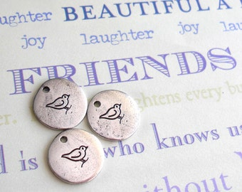 "Best Friend Chicks. 1 Mini 1/2"" Charm in silver, copper, gold. Perfect gift. fun friends party favor celebrate. Bird Owl Heart Daisy martini"