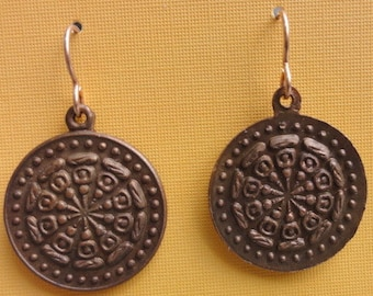 Earrings Made of Copper Discs