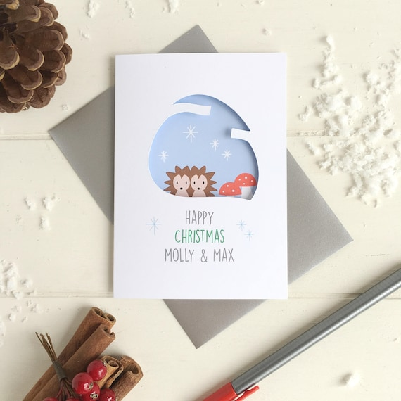 Couple's hedgehog christmas card - Personalised christmas card - couple's first christmas