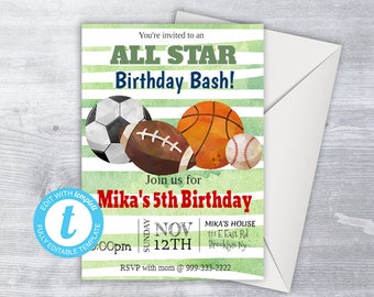 SPORTS Invitation, Sport Party, Sport Party Invitation, birthday invitation, personalized invitation, football invitation, sports birthday,