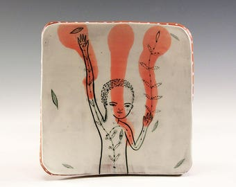A Ceramic Square Plate by Jenny Mendes - Reach