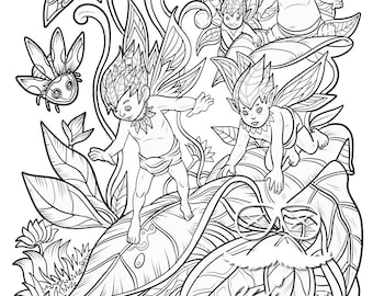 Fairy Coloring Page - Instant Digital Download Page