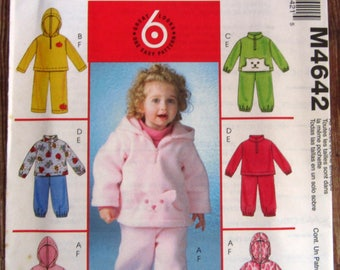 Easy Sew Toddlers Fleece Tops and Pants 6 Styles Sizes 1 2 3 4 McCalls Pattern M4642 UNCUT