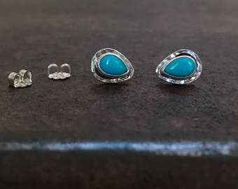 Sleeping Beauty Turquoise & Sterling Silver Earring Studs