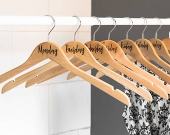Days Of The Week Wooden Coat Hangers | Personalised Hangers | Gifts For Him | Boyfriend Gift | University Gift | Wardrobe Organiser