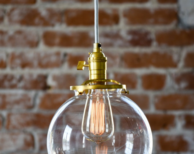 Free Shipping! Pendant Lighting Gold Brass - 8in. Clear Glass Globe - Cloth Wire - Ceiling Canopy Mount -  Bar Island Kitchen