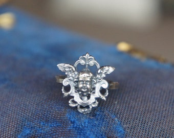 Antique French Winged Cherub Angel Putti Silver Ring