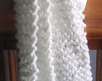 scarf - knit scarf - hand knit scarf - white knit scarf - white hand knit scarf - white scarf - acryic knit scarf - white acrylic scarf