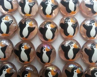 Hand painted glass gems party favors art penguins penguin on pink gems
