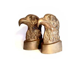 Vintage Boho Brass Eagle Bookends
