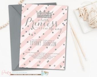Princess Baby Shower Invitation, Princess Invitation, Princess Baby Shower, Princess Party, Pink and Silver, Crowns, Baby Shower