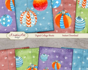 75% OFF SALE Christmas Balls - Digital Collage Sheet Digital Cards C129 Printable Download Image Tags Digital Atc Card ACEO Christmas Cards