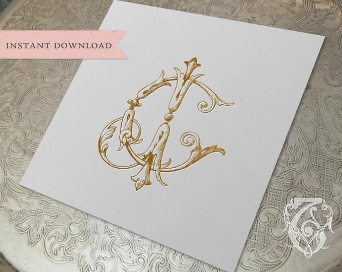 Vintage Wedding Monogram CJ JC Digital Download C J