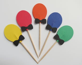 Balloon Cupcake Toppers - Food Picks - Primary Colors - Double Sided