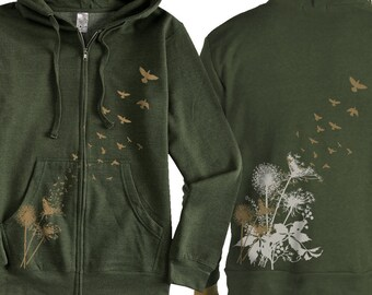 Dandelions Zip Hoodie Birds Flying  Green Zip Hoodie  Graphic hoodie  Gift for Him Gift for Her, Cool Art Hoodie