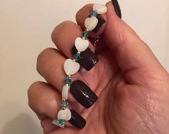 Heart Bracelet: River shell. Turquoise Swarovski Crystals