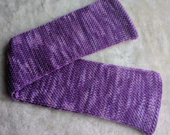 Handmade Long knit scarf, winter scarf, muffler, Purple color scarf, rib knit scarf, reversible knit scarf, simple knit scarf
